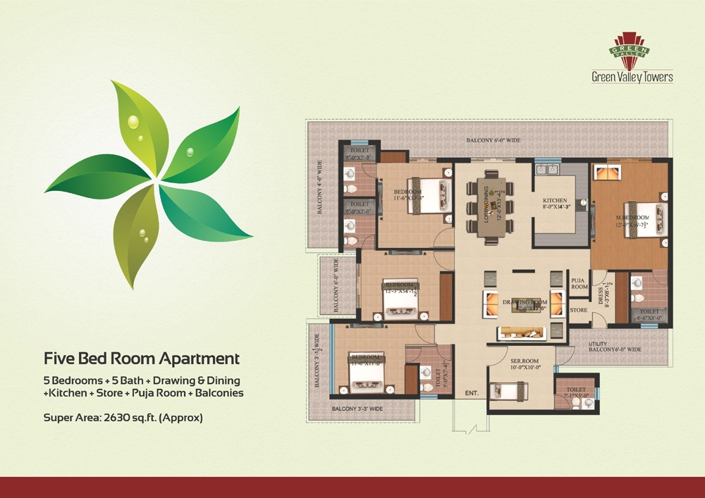 layout plan of 4bhk flat of green valley towers zirakpur