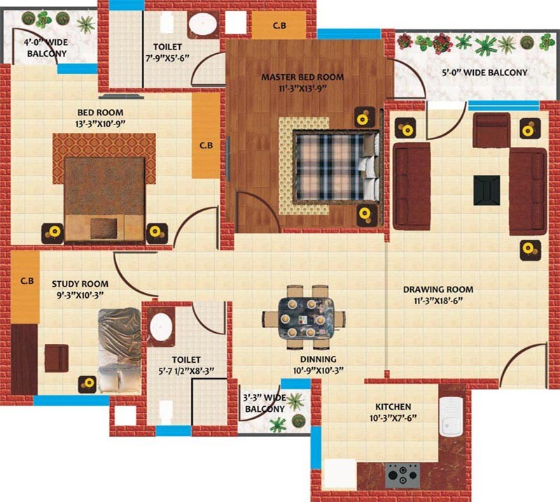 opulencia 2bhk study room luxury flat in mohali
