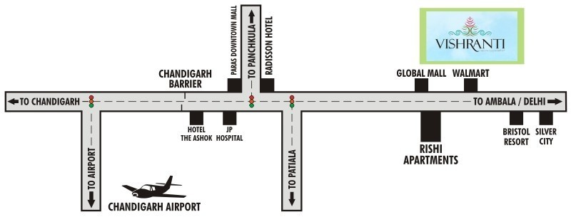 location map of unicity vishranti township in zirakpur near chandigarh